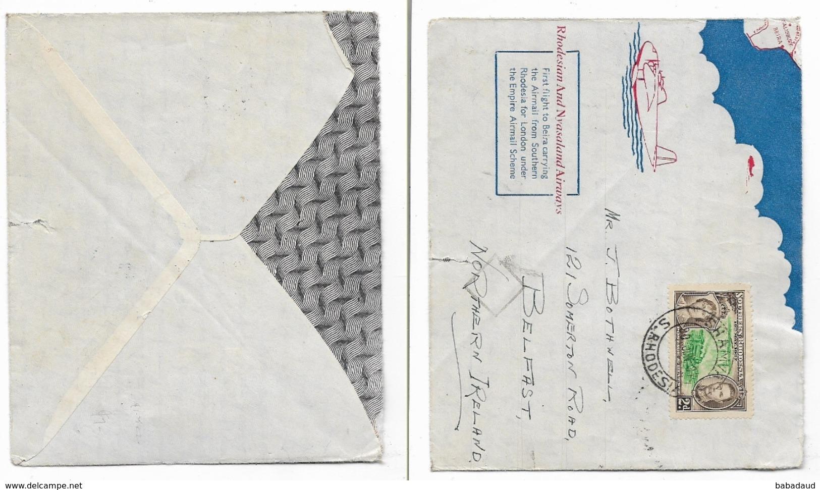 S.Rhodesia, Commemorative Cover,  SHAMVA 30.ju. 37 First Flight > Beira (flap Missing) - Zuid-Rhodesië (...-1964)