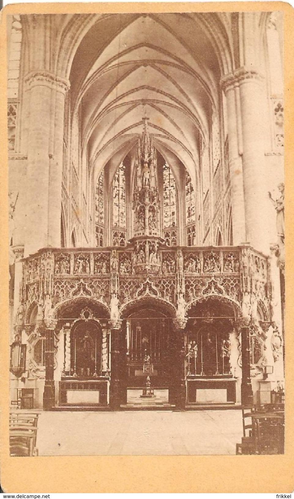 Photo Sur Carton Foto Op Hard Karton (6 X10cm) Lier Lierre Binnenzicht Kerk - Lier