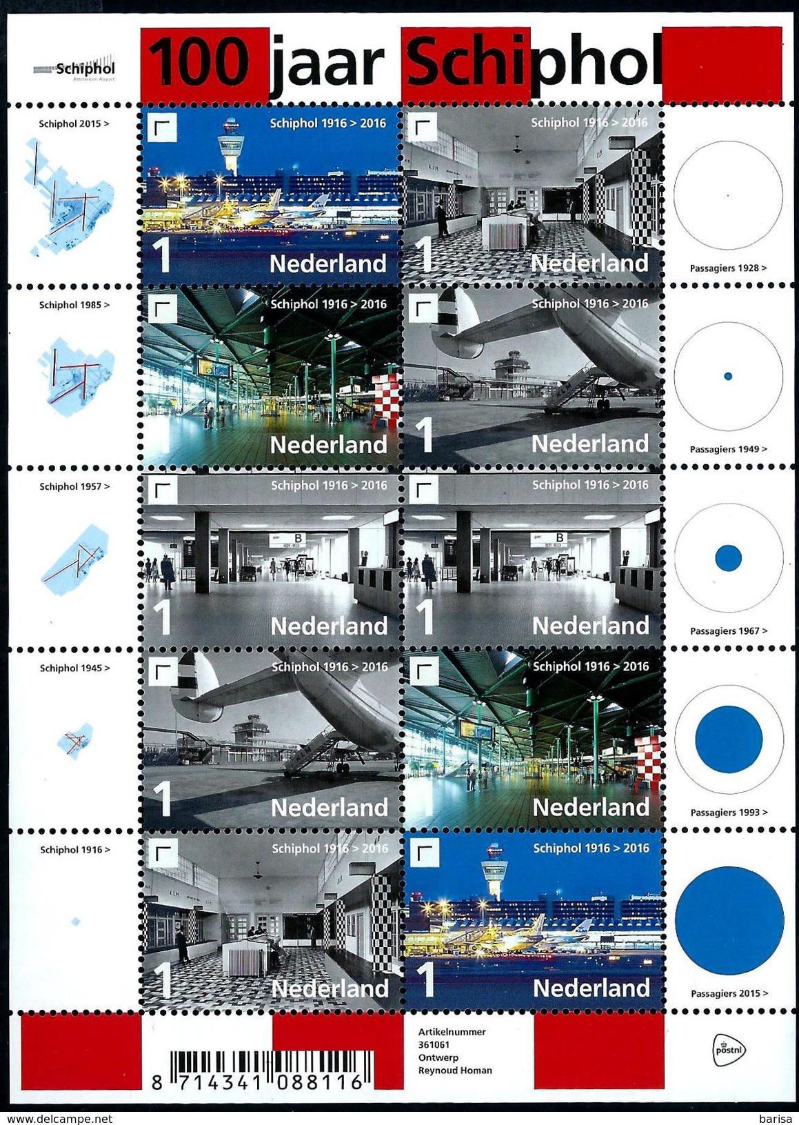 Nederland 2016: 100 Jaar Schiphol ** MNH - Periode 2013-... (Willem-Alexander)