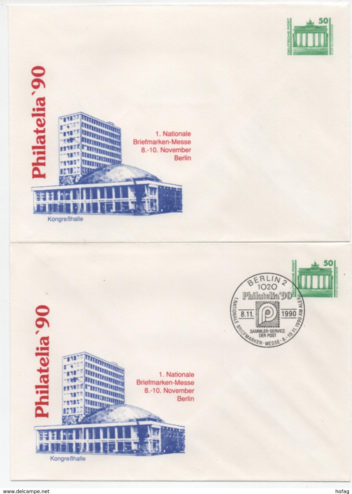DDR Philaitelia'90 Ganzsache PU 17 Kongreßhalle Postfrisch Und Ersttagsstempel; Private Postal Stationery MNH + FDC - Buste Private - Nuovi