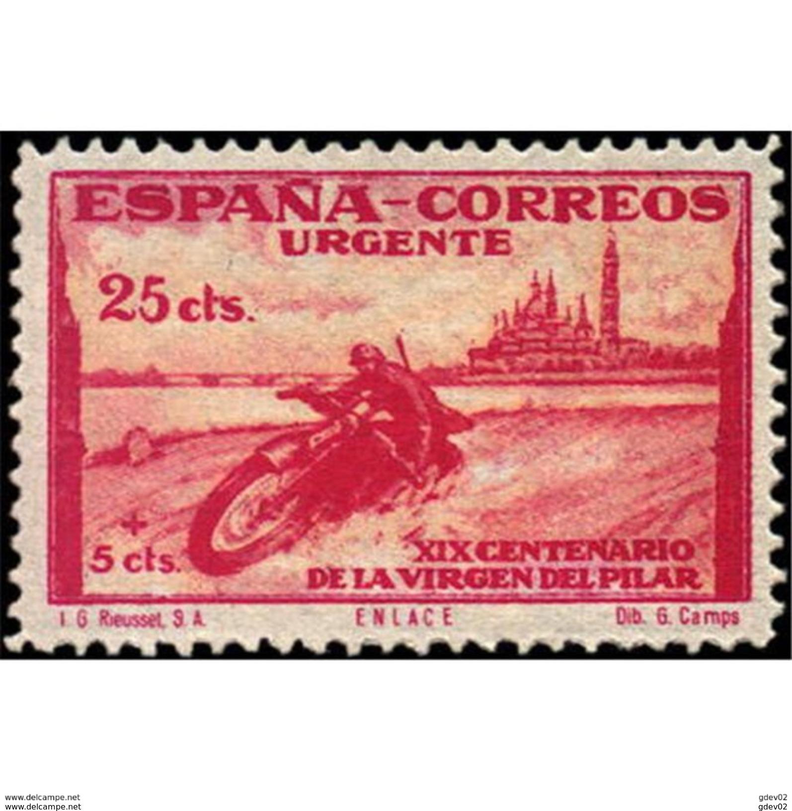 ES903STV-LTV***903STEUR.Spain.Esgane .RELIGION.VENIDA DE LA VIRGEN DE EL PILAR De ZARAGOZA.URGENTE.moto.1940.(Ed 903**) - Correo Urgente