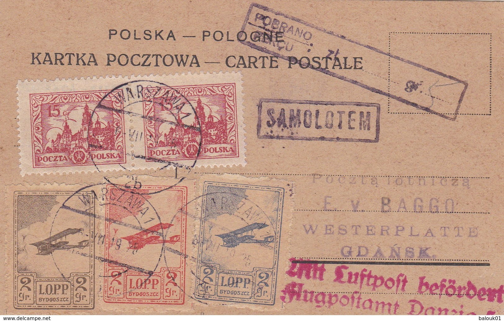 Carte Warszawa  SAMOLOTEM Vers Gdansk 1926 - Luftpost
