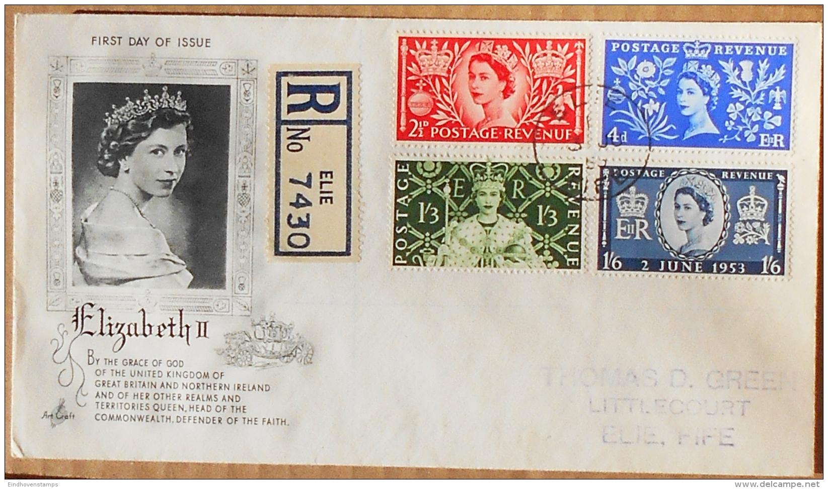 Great Britain Coronation-FDC Cancel Elie 3 Ju 53 - 1952-1971 Pre-Decimal Issues