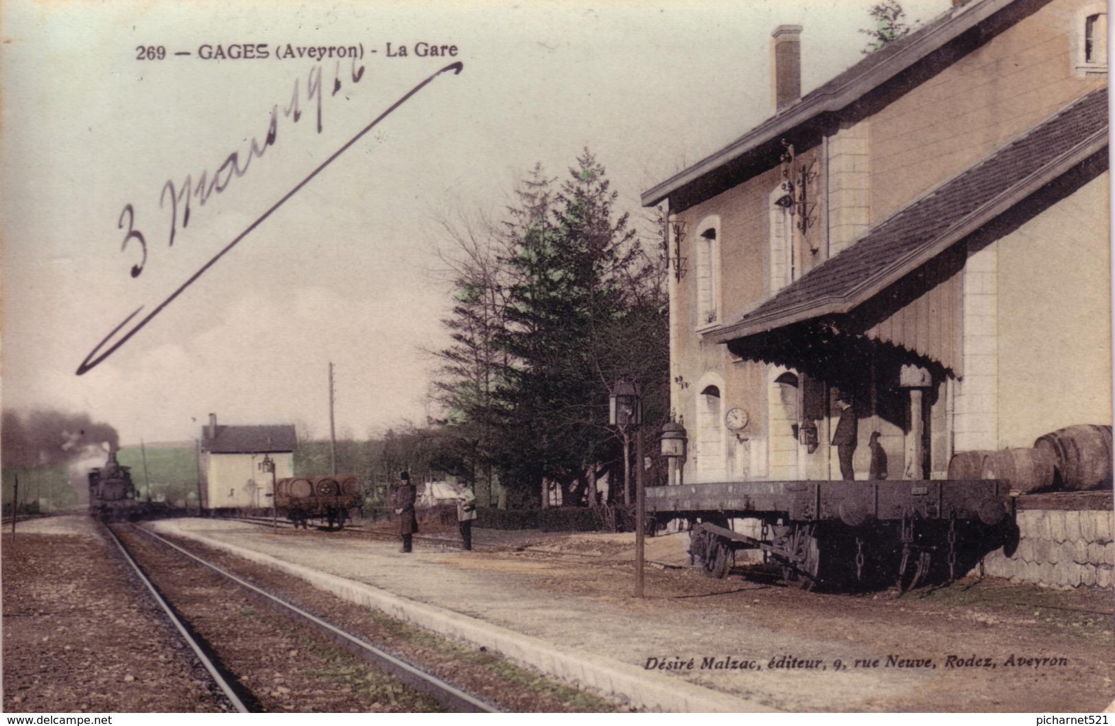 CPA De GAGES (Aveyron) - La Gare. Colorisée, Vernie. Edition Désiré Malzac. N° 269. Circulée Le 3 Mars 1916. Bon état. - France