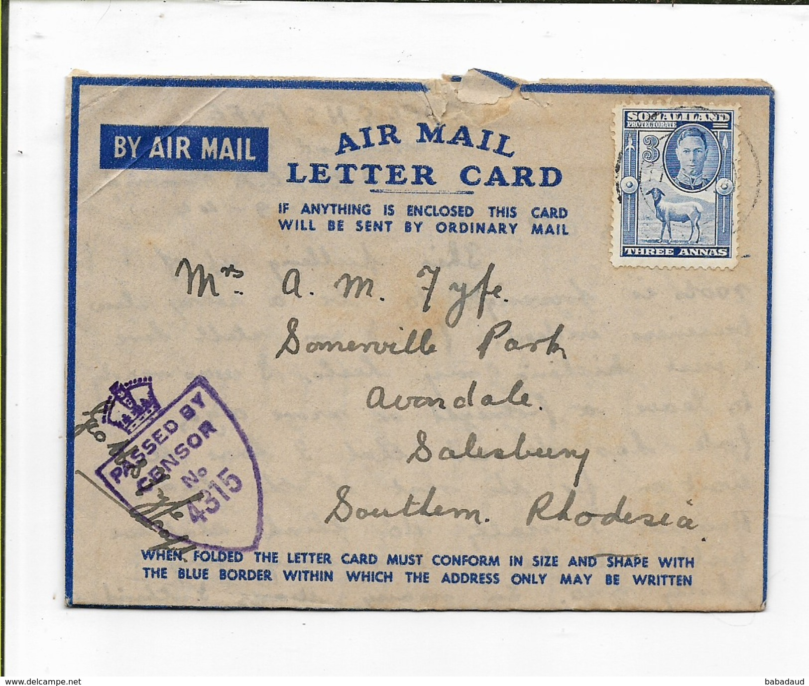 Somaliland Camel Corps  Air Letter 1944, E.A. A.P.O. 65 (Hargeisa Camp), Censor 4315 > S. Rhodesia - Somaliland (Protectorate ...-1959)
