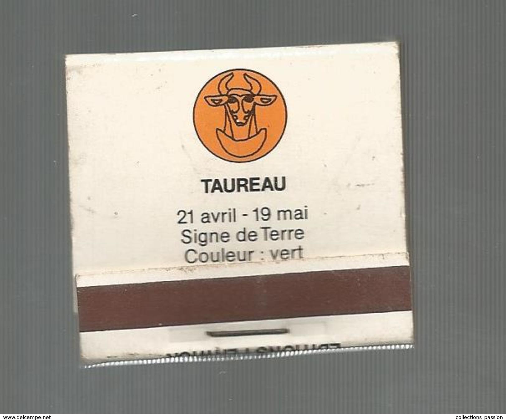 G-I-E , Tabac , Boite, Pochette D'ALLUMETTES, 2 Scans, Publicité, Taureau , Signe De Terre , Ed : Fenwick - Matchbox Labels