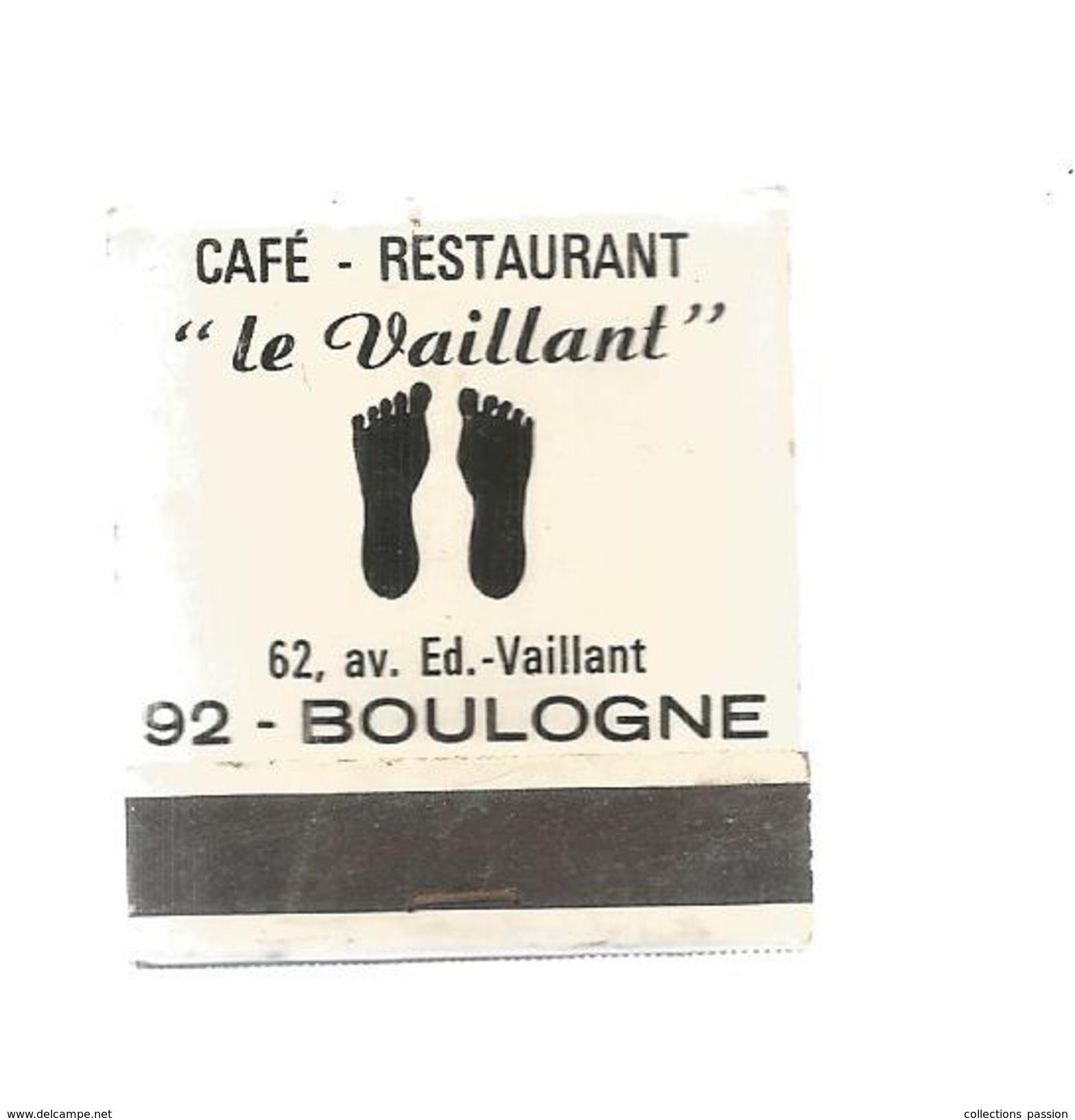 G-I-E , Tabac , Boite, Pochette D'ALLUMETTES, 2 Scans, Publicité, Café , Restaurant , Le Vaillant , 92 , Boulogne - Matchbox Labels