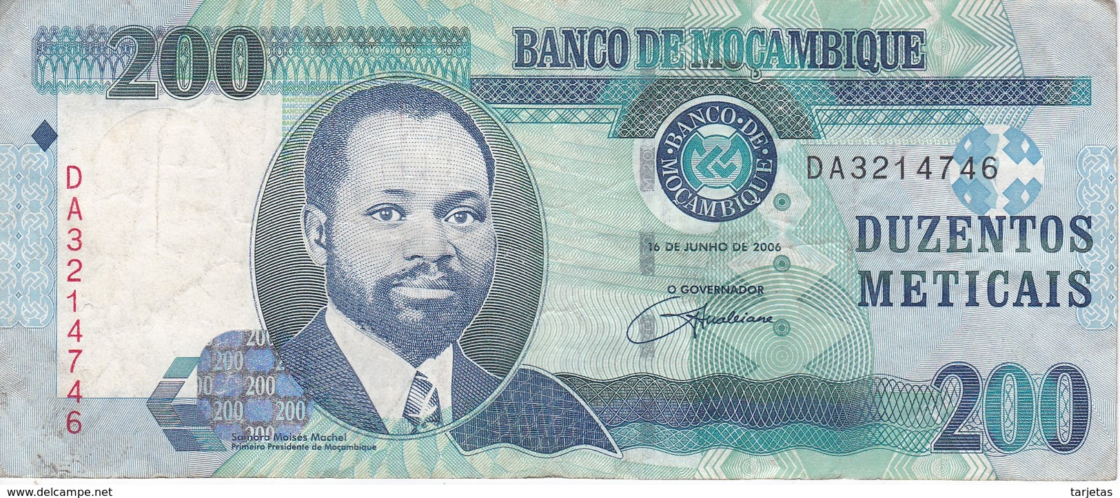 BILLETE DE MOZAMBIQUE DE 200 METICAIS DEL AÑO 2006 (BANKNOTE) LEON-LION - Mozambique