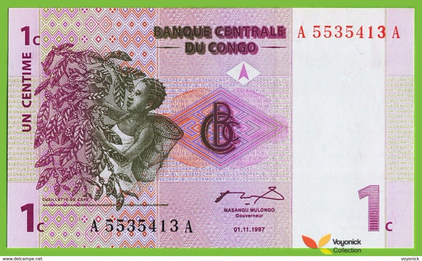 Voyo CONGO 1 Centime 1997 P80a  B301a Prefix A Surfix A UNC Coffee  Volcano - Congo