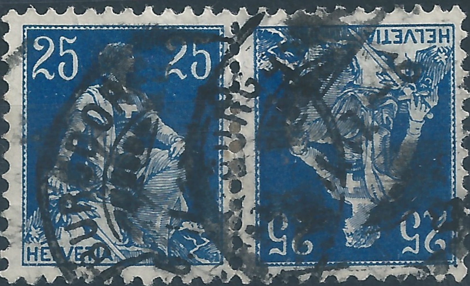 SWITZERLAND 1908 Seated Helvetia Tete-Beche Variety Used Cat Value£200 - Inverted (tête-bêche)