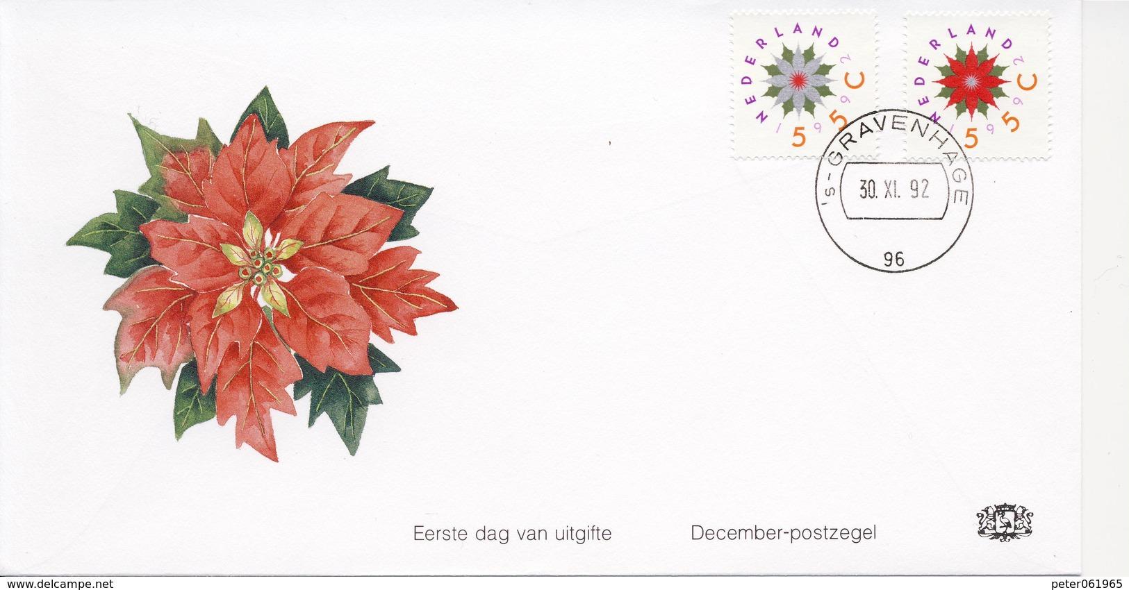 Decemberzegels 1992 Op Edel FDC - Blanco / Open Klep - FDC