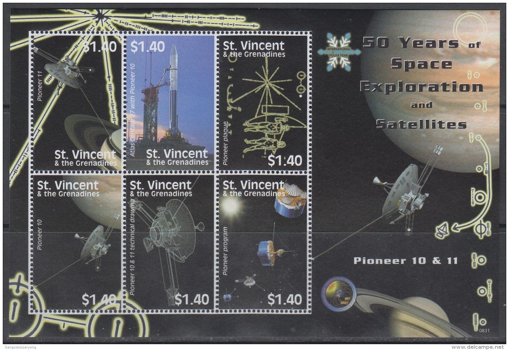 Sheet II, St. Vincent Sc3641 Space Exploration, Satellite, Pioneer 10, Pioneer 11, Rocket, Espace - Space