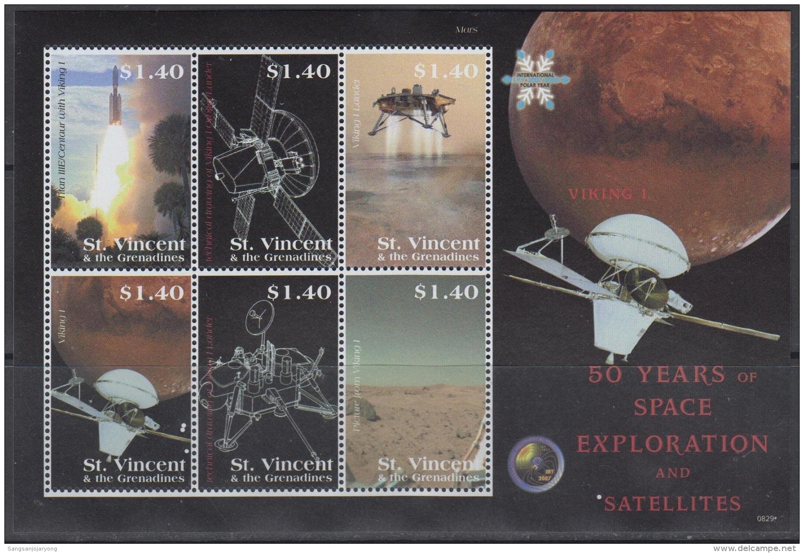 Sheet II, St. Vincent Sc3642 Space Exploration, Satellite, Viking 1, Rocket, Espace - Space