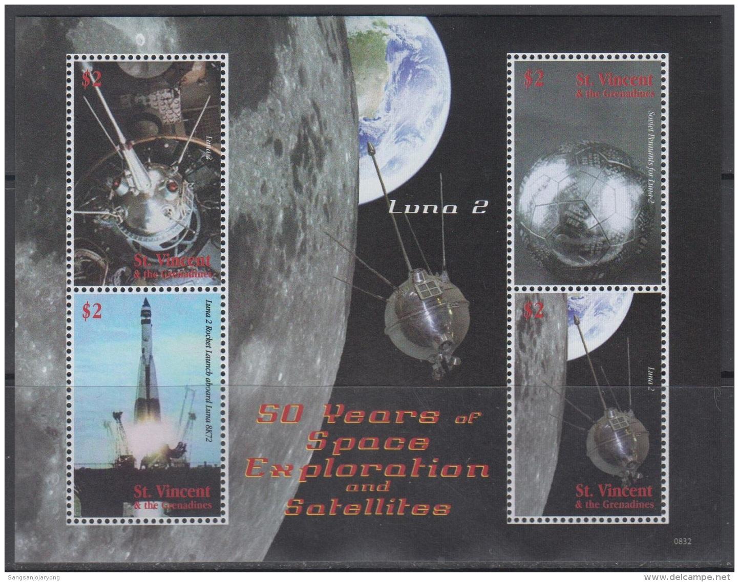 Sheet II, St. Vincent Sc3644 Space Exploration, Satellite, Luna 2, Rocket, Espace - Space