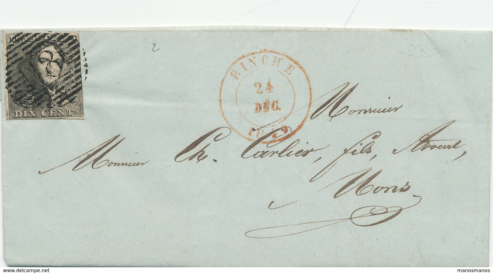 162/25 - Lettre TP Epaulettes No 1 (touché) Barres 18 - BINCHE 1849 Vers MONS - Signé Gaillard - 1849 Epaulettes