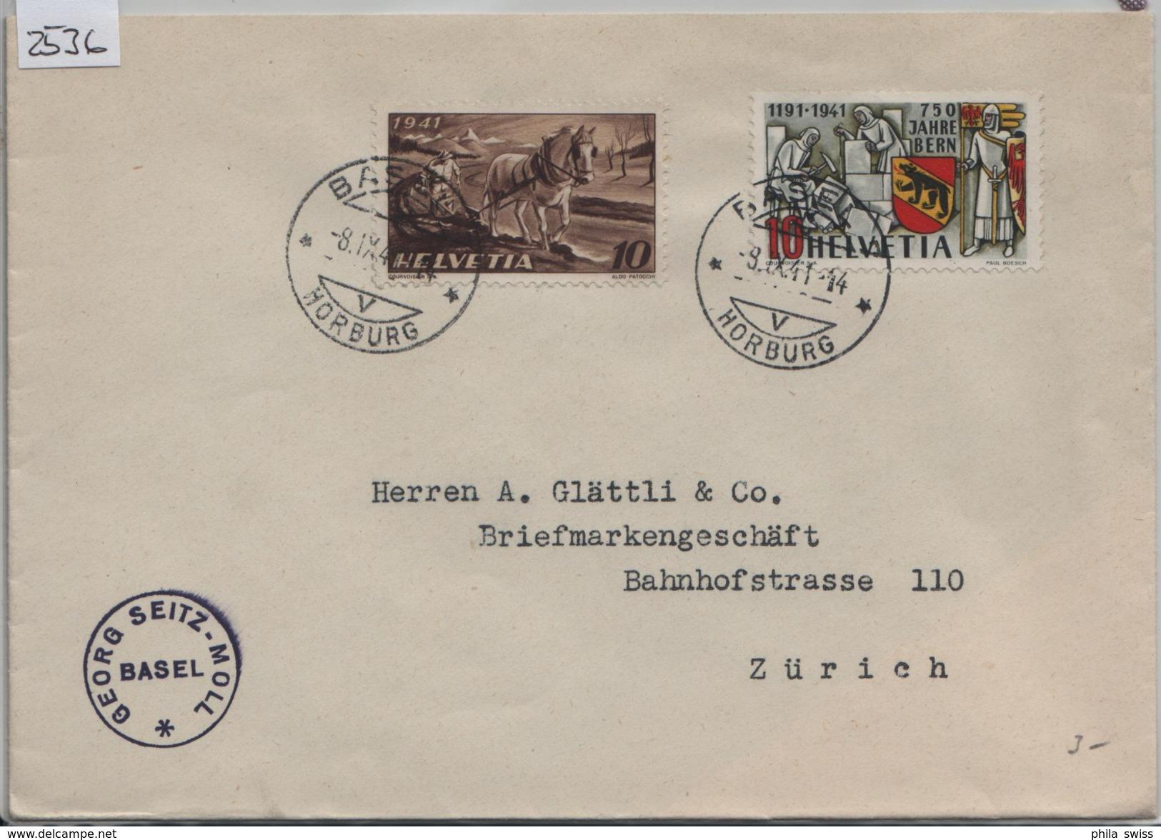 1941 750 Jahre Bern 253/398 252/386 Anbauwerk - Stempel: Basel Horburg Nach Zürich - Schweiz