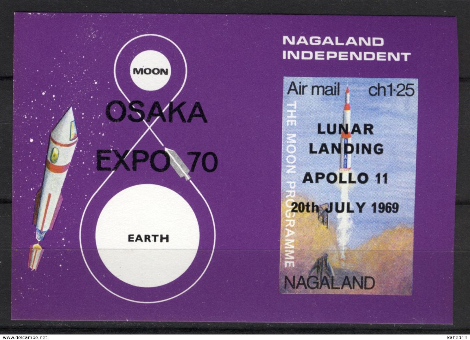 India Nagaland Label (local Issue), Space / Ruimtevaart, Apollo 11, Lunar Landing, Surch: Osaka Expo, Cinderella **, MNH - Space