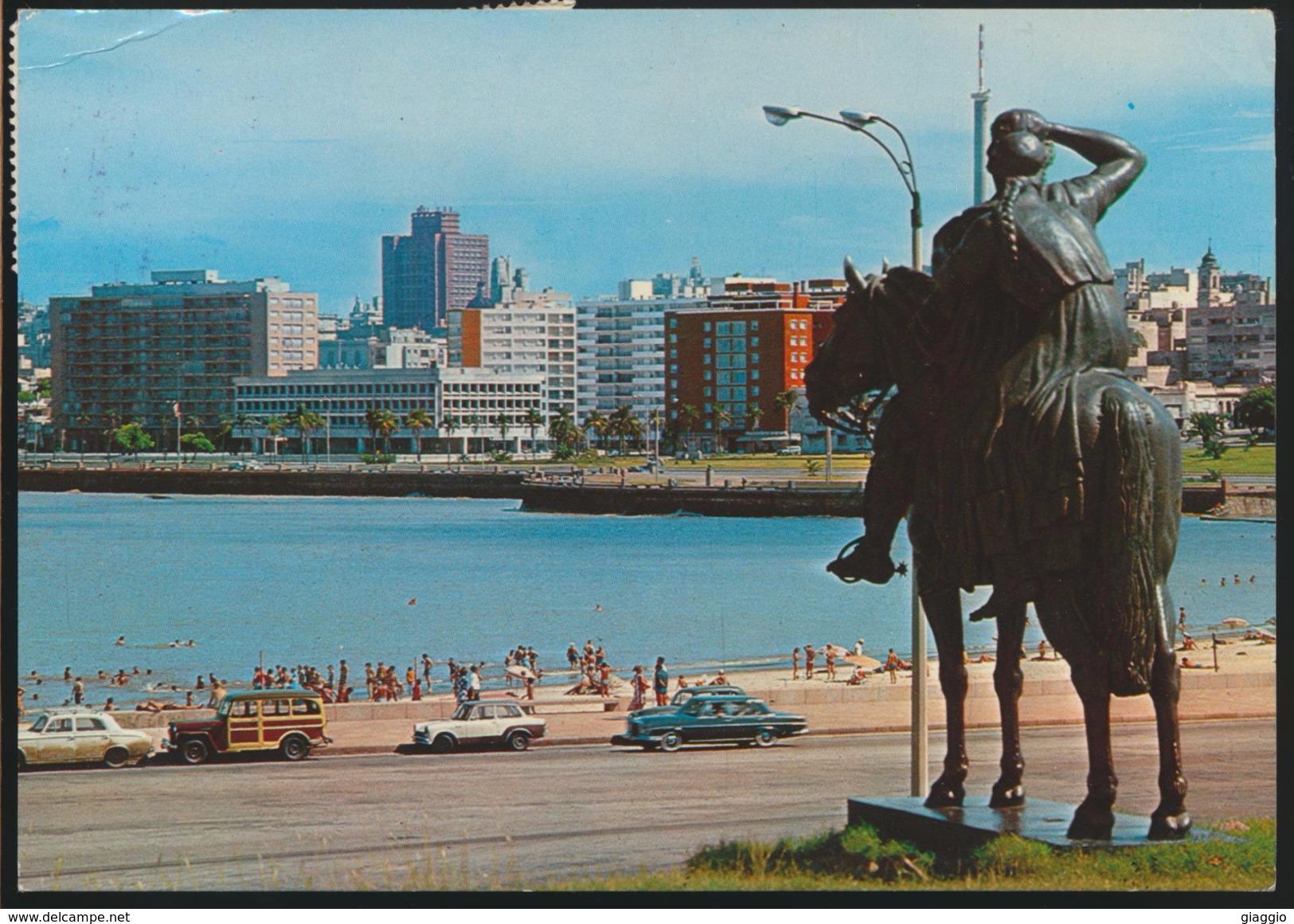 °°° 3690 - URUGUAY - MONTEVIDEO - MONUMENTO NUEVOS RUMBOS - PLAYA RAMIREZ - 1995 With Stamps °°° - Uruguay