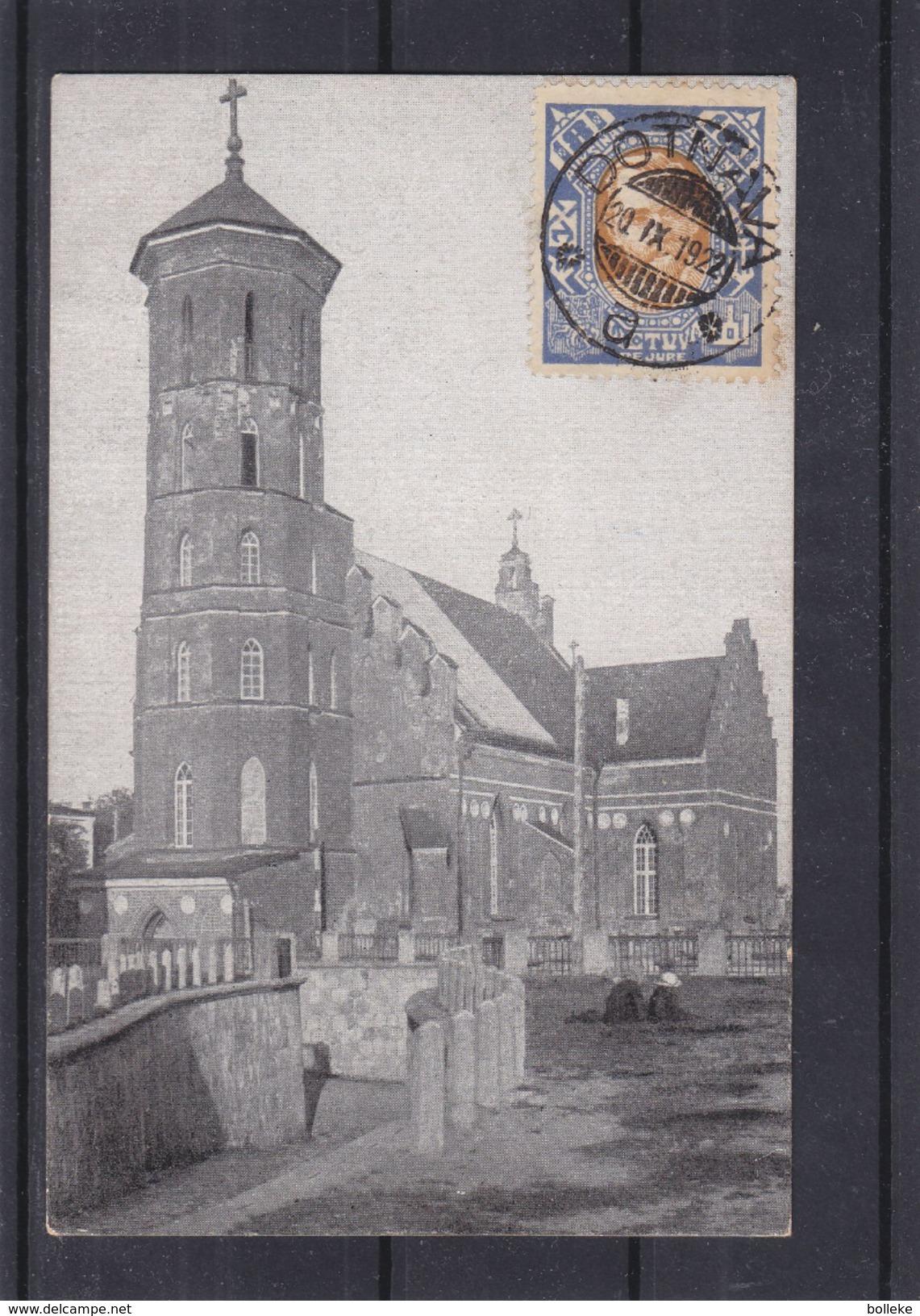 Lituanie - Carte Postale De 1922 - Oblit Dotnava - Exp Vers Praha - Lithuania