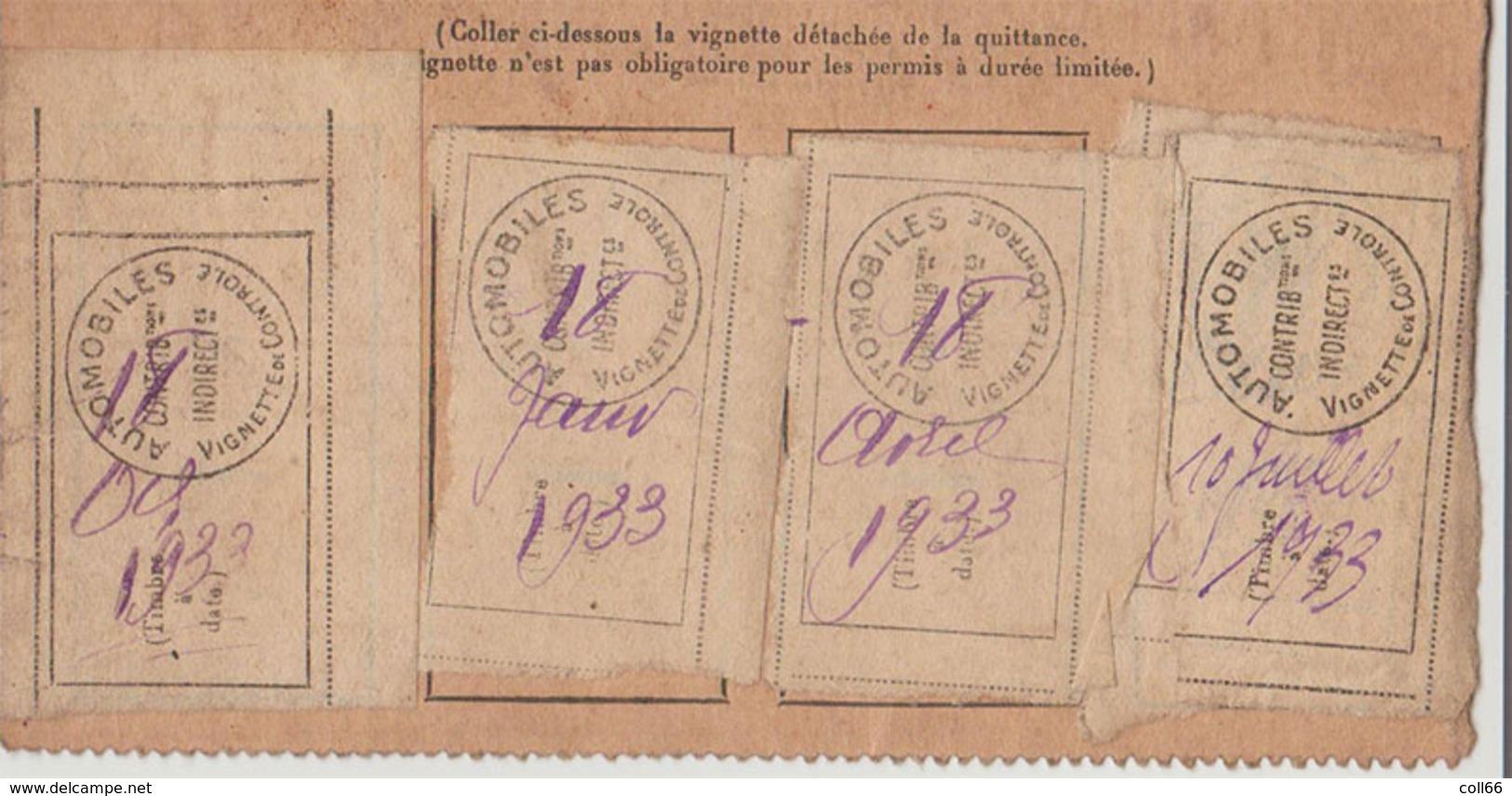 1930 RARE 4 Timbres Fiscaux Pour Automobiles 1ère Période Sans Valeur Gris Sur Paille Dentelés Sur Document - Fiscaux