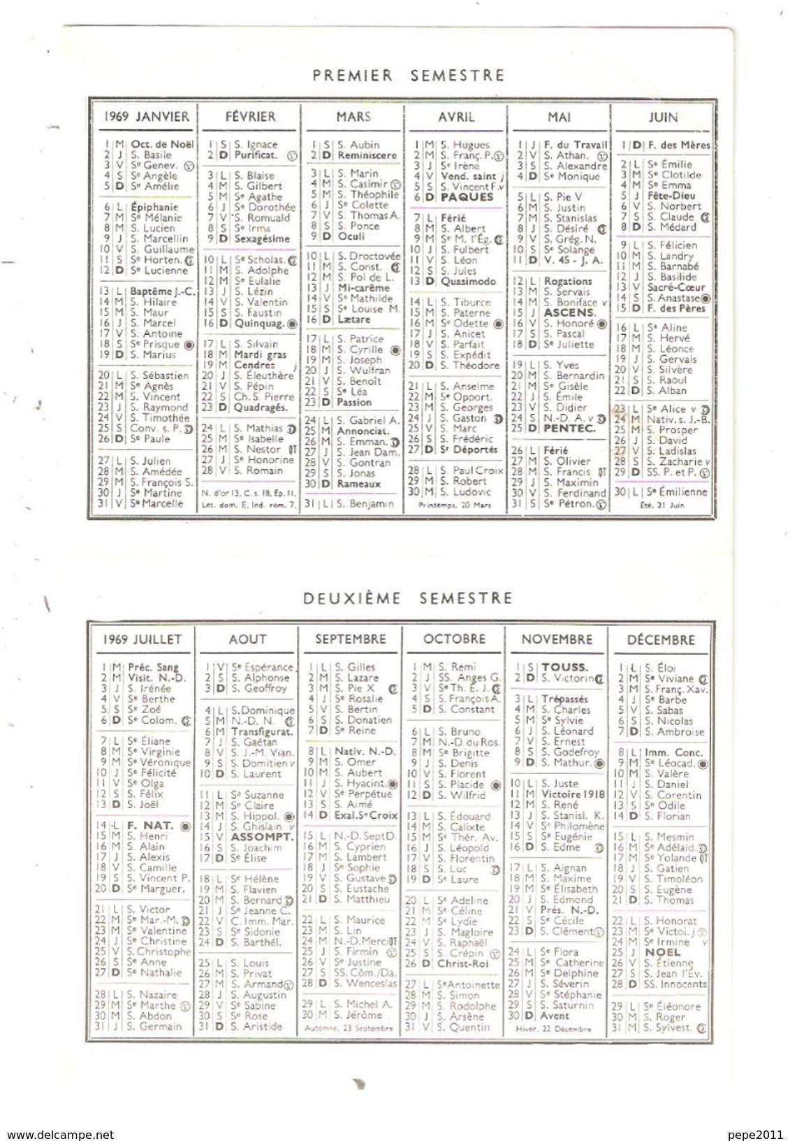 Calendrier Petit Format 18 MEHUN Sur YEVRE 1969 Cavalcade Char De La St Hubert ( Chiens Chevaux ) Aanimation - Calendriers