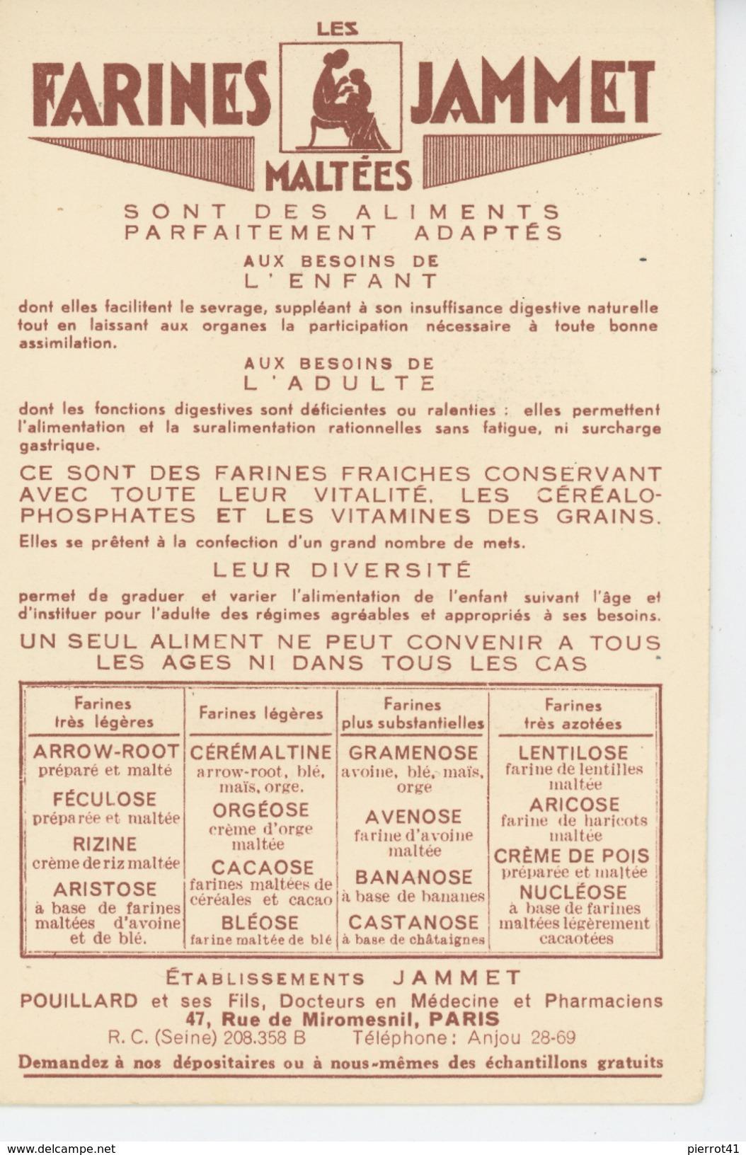 PUBLICITE - Jolie Carte Pub Pour LES FARINES MALTÉES JAMMET - Les Vieilles Provinces De France - LA BOURGOGNE - Publicité