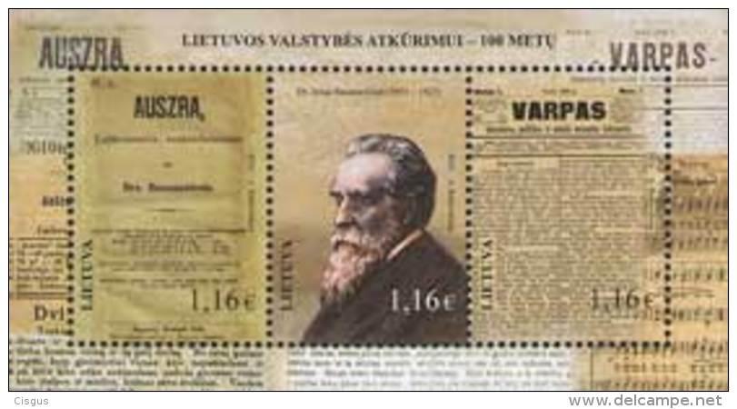 Lietuva Litauen 2016 MNH ** Mi. Nr.  1227-29 Bl.53 Centenary Of Lithuanian State Restoration - Lithuania