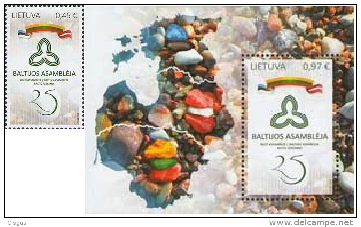 Lietuva Litauen 2016 MNH ** Mi. Nr.  1230-31 Bl.54 25th Anniversary Of Baltic Assembly Joint Issue - Lithuania