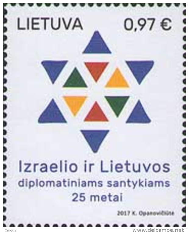 Lietuva Litauen 2017 MNH ** Mi. Nr.  1235 25th Aniv Of Dipl. Relation With Israel - Lithuania