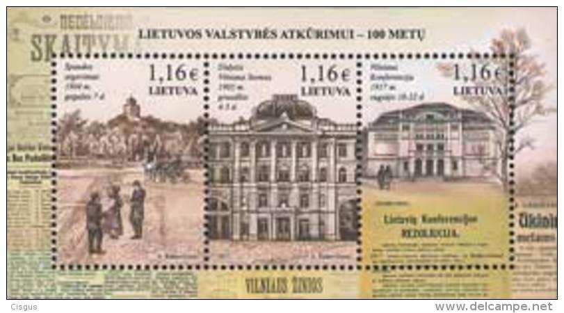Lietuva Litauen 2017 MNH ** Mi. Nr.  1244-46 Bl.55 Restauration Of Lithuania - Lithuania