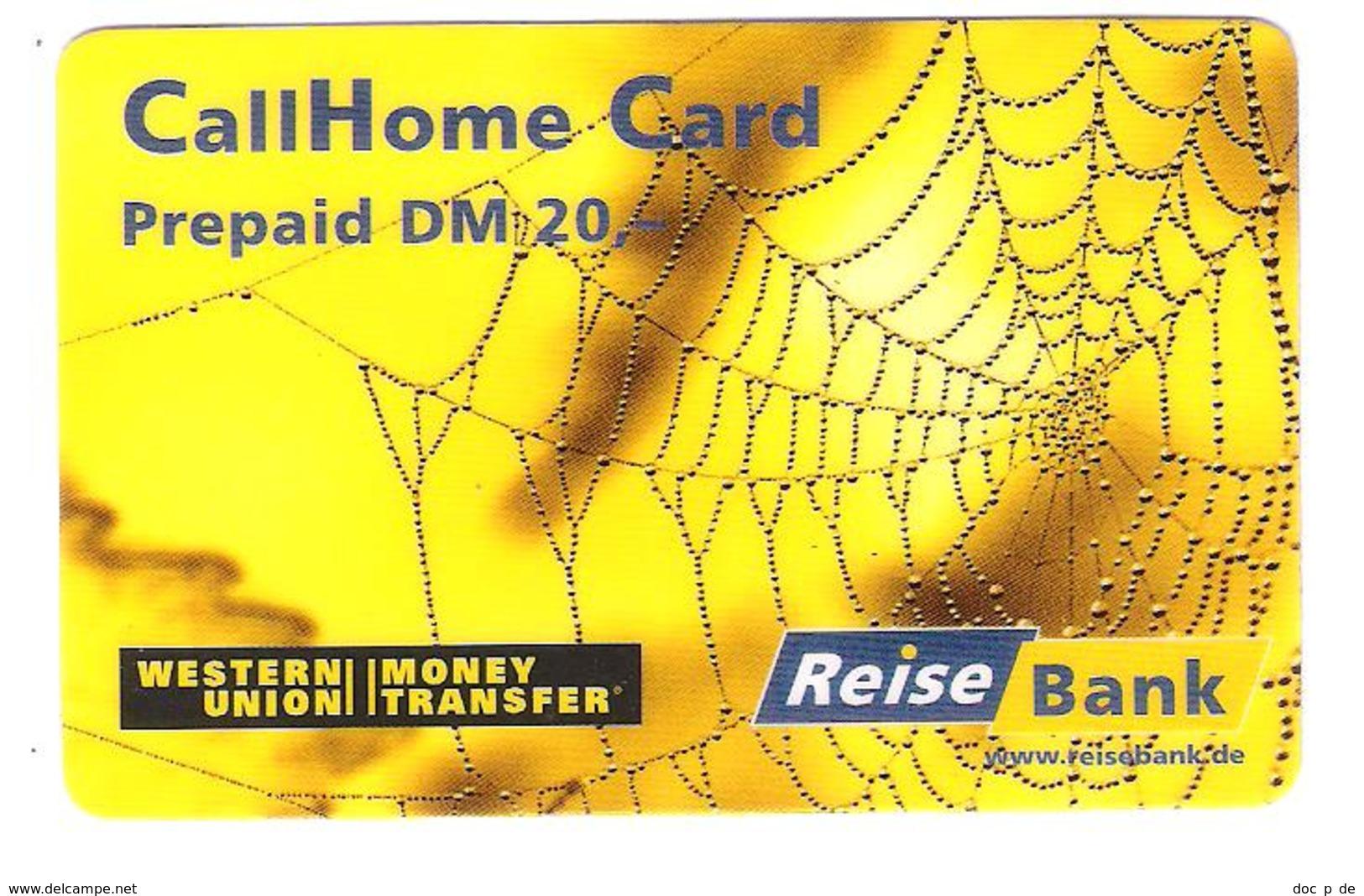 Germany - Prepaid Card - Call Home Card - Reisebank - Western Union - 20 DM - Spider - Germany