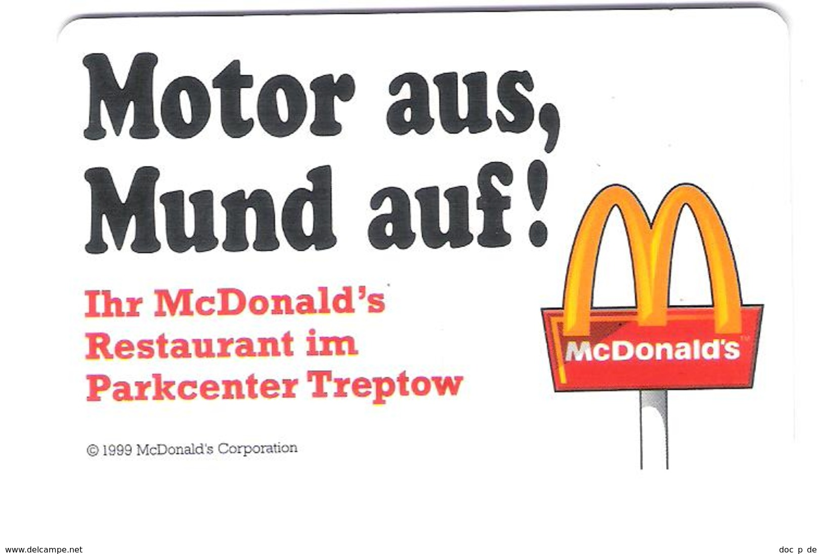 Germany - Parking Card - Park Center Berlin Treptow - Mc Donalds - France