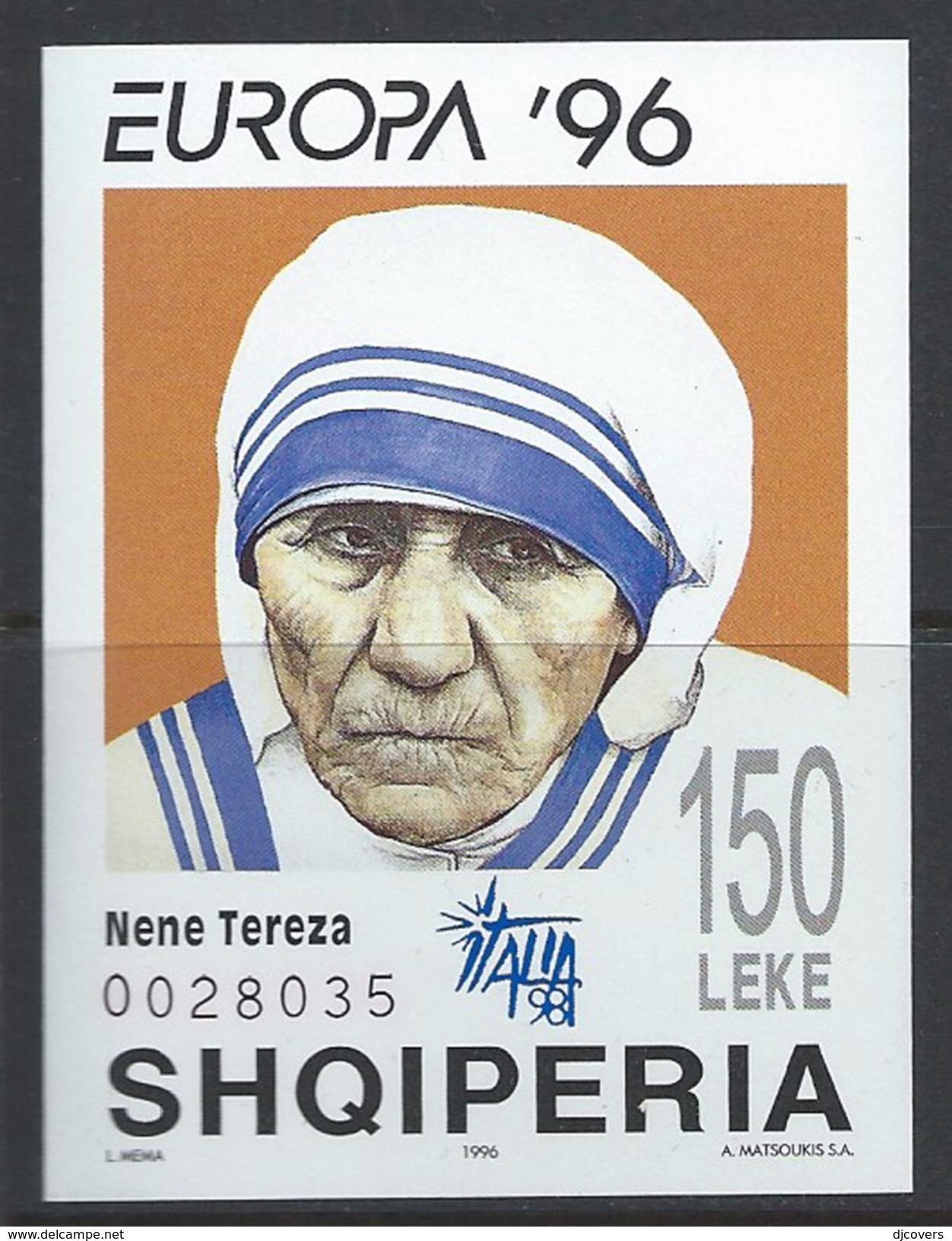 Albania 1996 Mi#Bl107 MNH Europe Mother Teresa Sheet - Albania