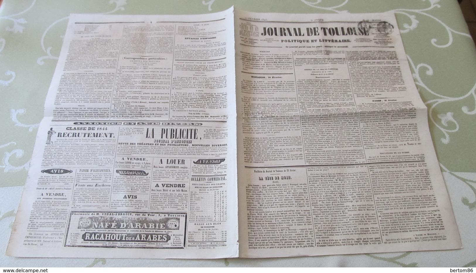 LEFEBURE-WELY - ORGANISTE DE SAINT-ROCH - GRAND CONCERT VOCAL ET INSTRUMENTAL - PROGRAMME - TOULOUSE  1845. - Posters