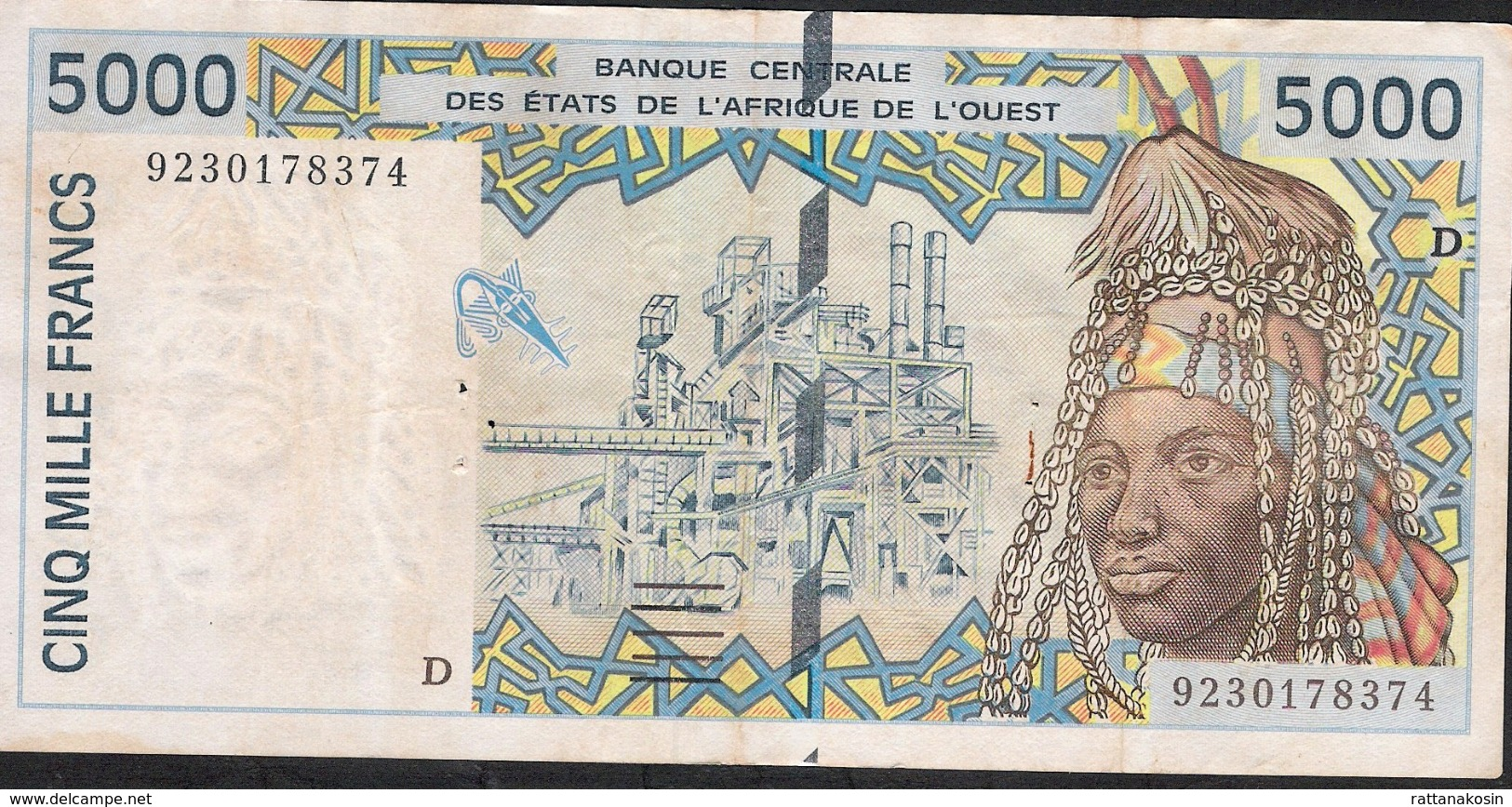 W.A.S. MALI LETTER D P413Da 5000 FRANCS  (19)92 FIRST DATE AVF 5 P.h. ! - Mali