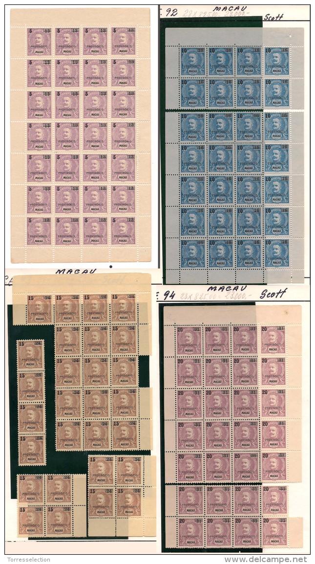 "Macau. 1900 D. Carlos """"PROVISORIO"""" Complete Set. Exceptional Group Of 4 Full Sheets, Complete/large Blocks. 28 Sets Su - Macau"