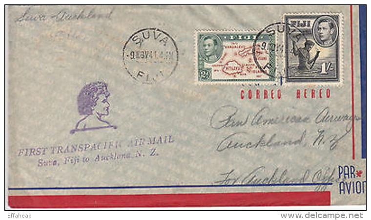 Fiji: GVI Cover, First Transatlantic Air Mail, Suva To Auckland, 9-11 Nov 1941 - Fiji (...-1970)