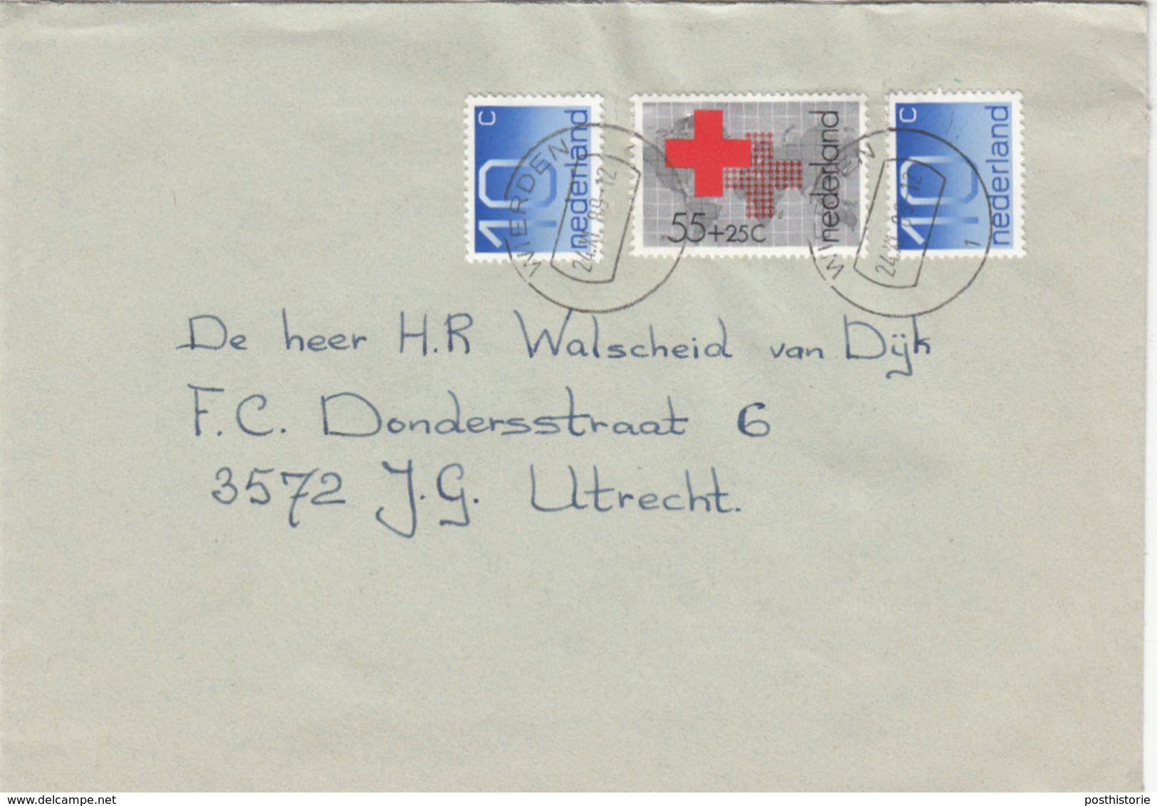 Envelop 24 Nov 1989 Wierden (stempeltype CB) - Poststempels/ Marcofilie