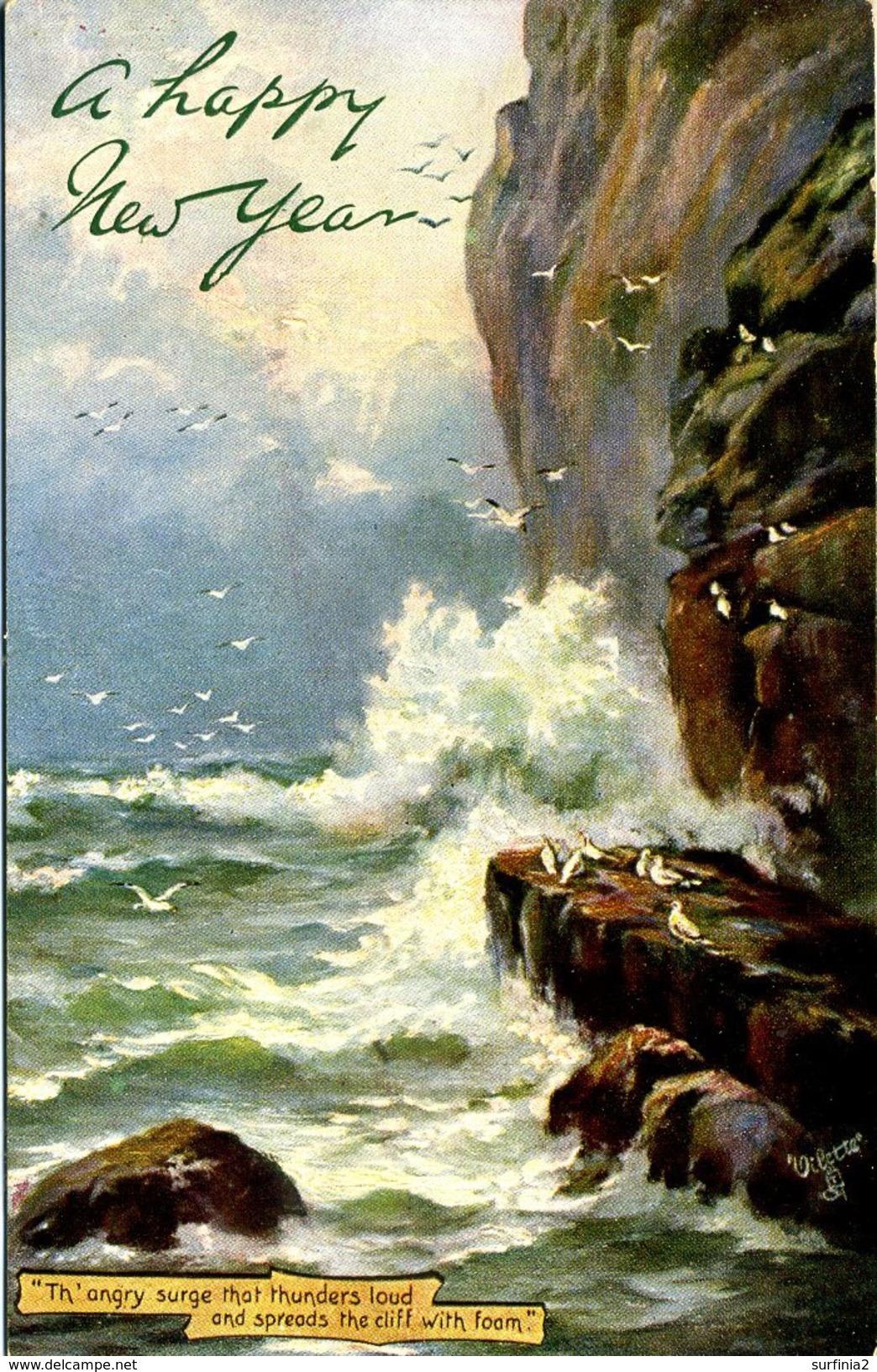 TUCKS OILETTE 9090 - ROUGH SEAS - A HAPPY NEW YEAR - New Year