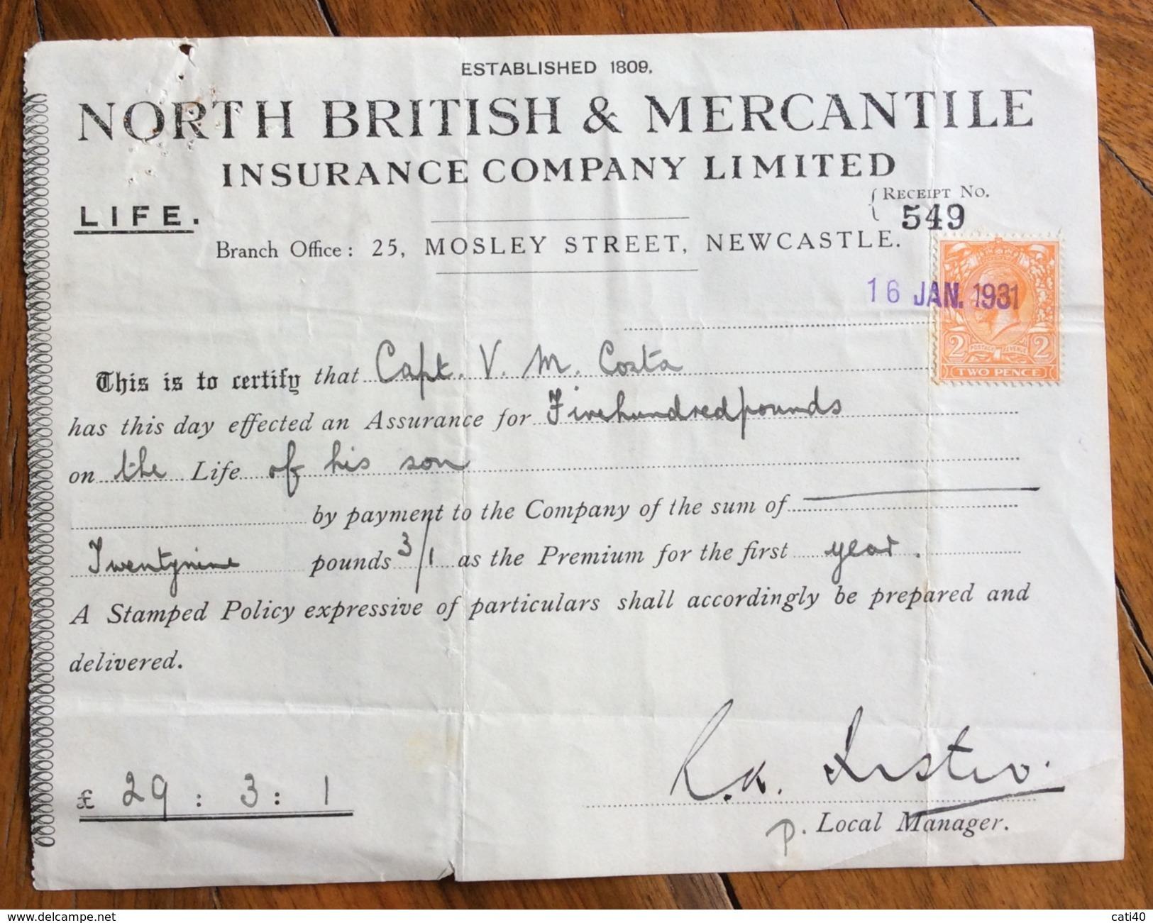 REGNO UNITO NORTH BRITISH & MERCANTILE INSURANCE COMPANY LIMITED    RICEVUTA CON FRANCOBOLLO/MARCA DA BOLLO - Royaume-Uni