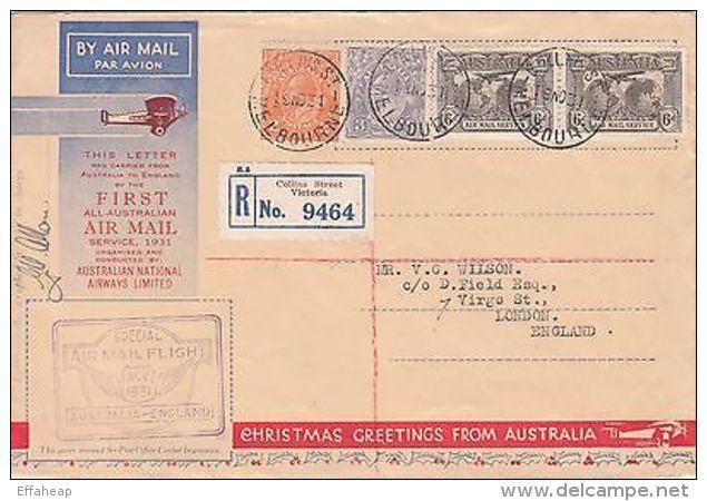 Australia: 1st All-Australian Airmail Service; Collins St, M-London, 19 Nov 1931 - First Flight Covers