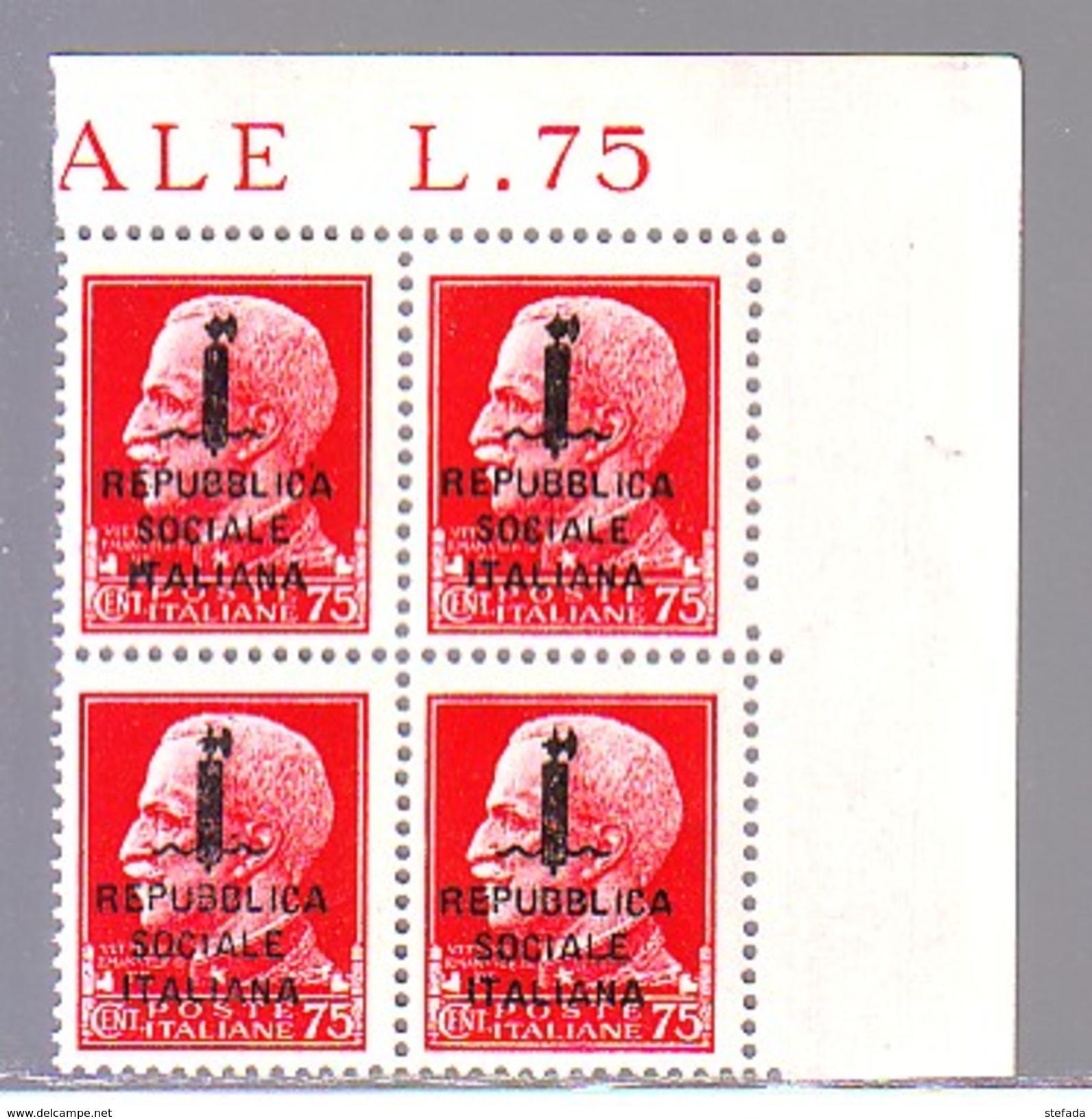 RSI 1944  ITALY  ITALIEN  MNH ** REPUBBLICA SOCIALE   75 Cent.  IMPERIALE SOPRAST. QUARTINA - Nuovi