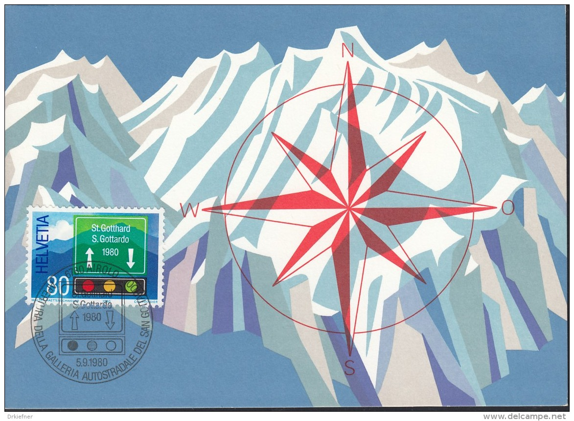 SCHWEIZ  1186 MK, Gotthard Strassentunnel 1980 - Maximumkarten (MC)