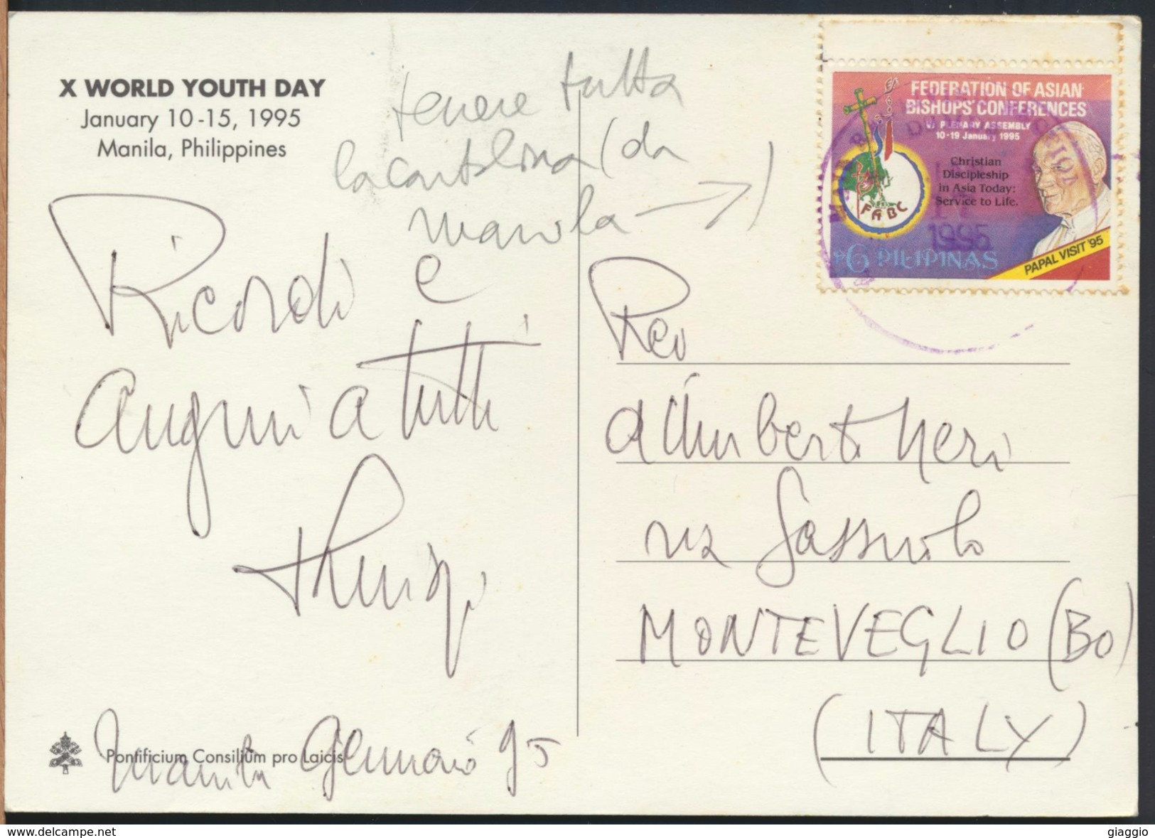 °°° 3976 - PHILIPPINES - MANILA - WORLD YOUTH DAY 1995 - With Stamps °°° - Filippine