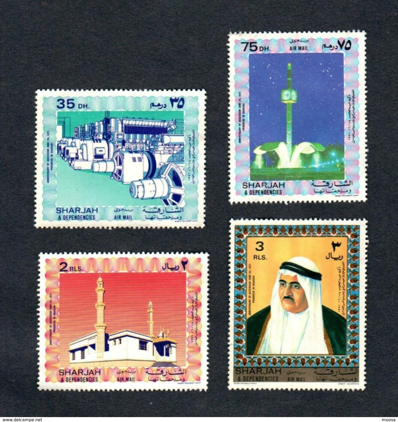 Sheikh Khalid And Modernization1971, Set Of 4 Unused Stamps - Sharjah