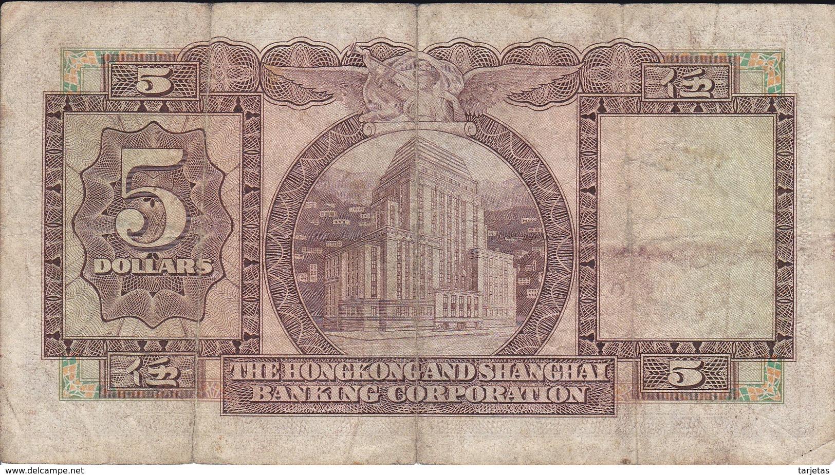 BILLETE DE HONG KONG DE 5 DOLLARS DEL AÑO 1972 (BANKNOTE) - Hong Kong
