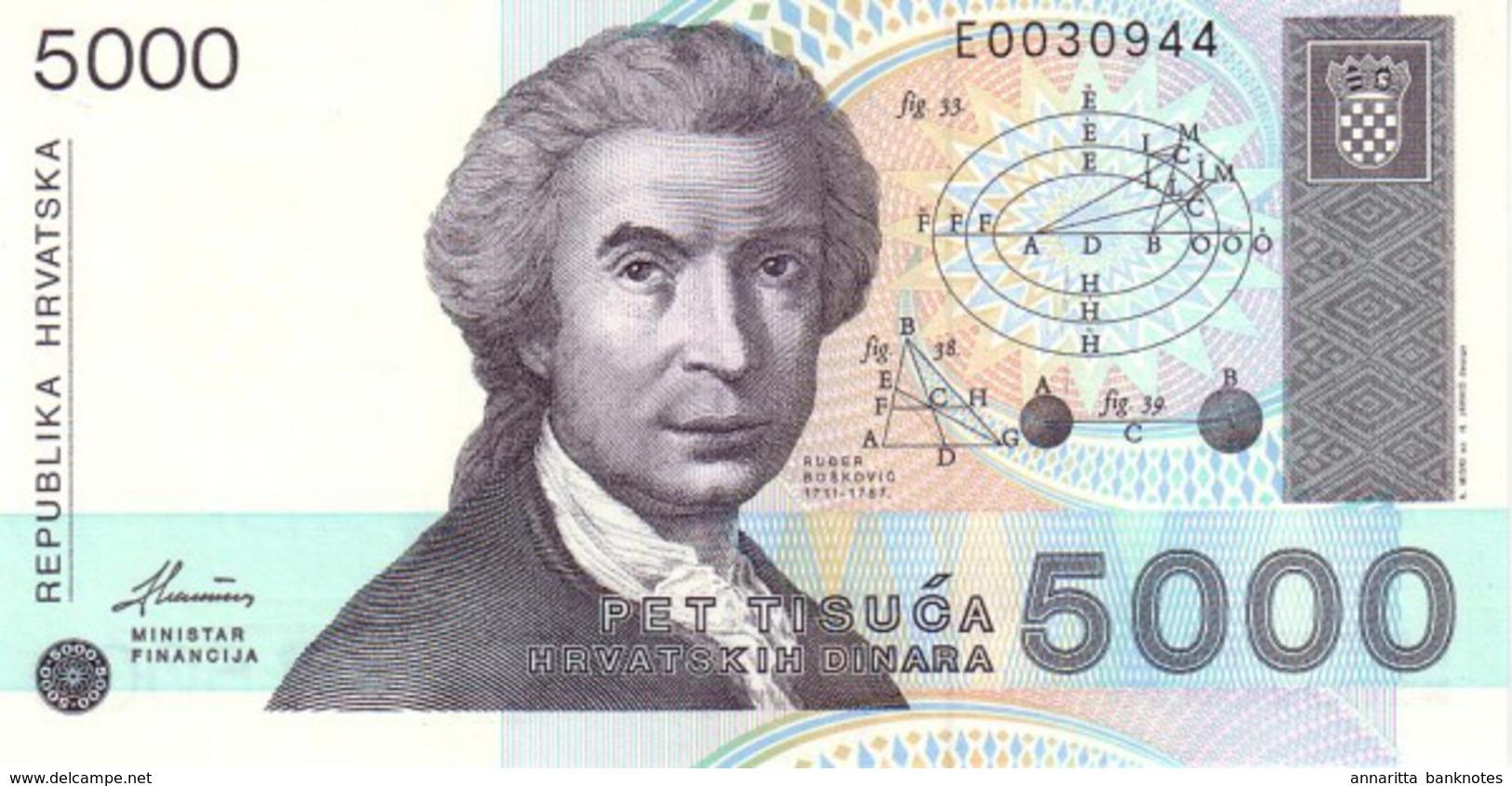 CROATIA 5000 DINARS 1992 P-24 UNC [ HR309a ] - Croatia