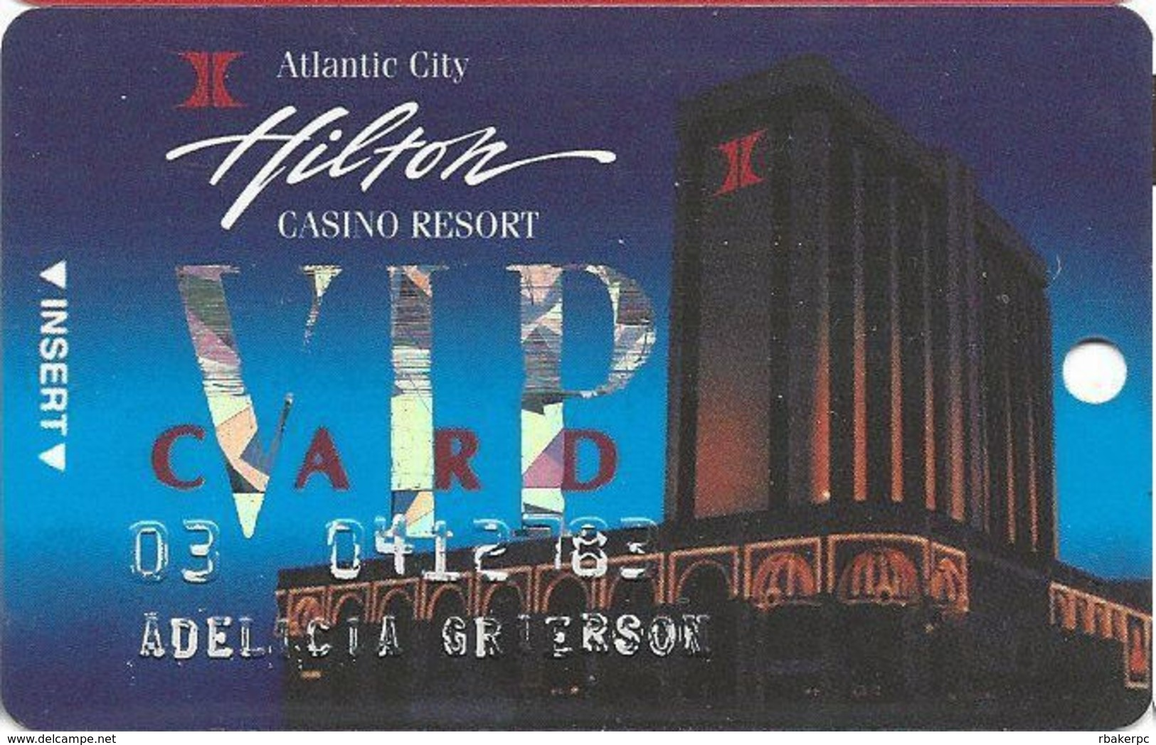 Atlantic City Hilton Casino - 1st Issue Slot Card - 3rd Line Reverse Has Bally's Park Place Only - Casino Cards