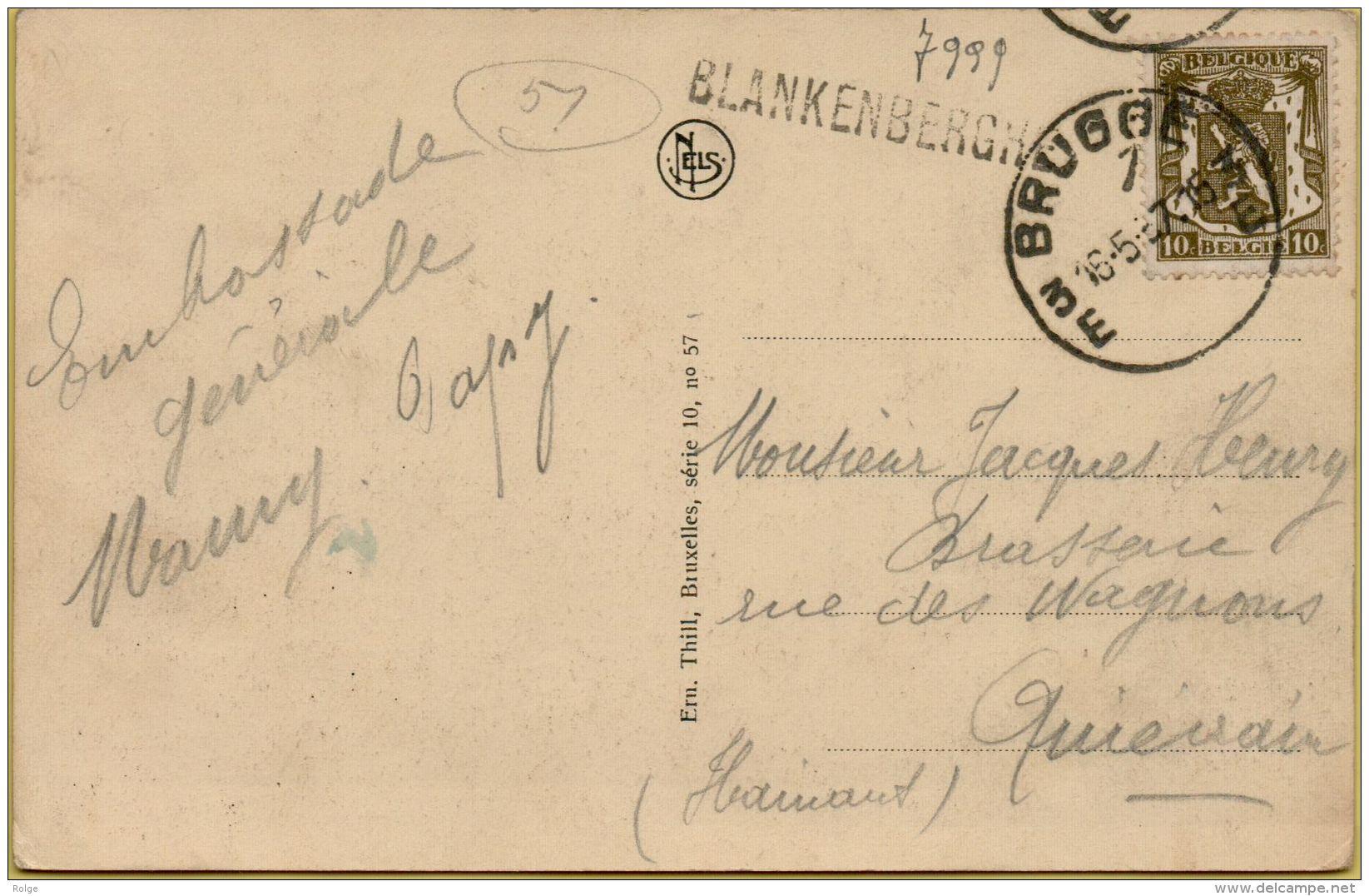 BR-7999       STATIONSNAAMSTEMPEL   BLANKENBERGHE 1   1957   Verzonden Via  BRUGGE 3 - Griffes Linéaires