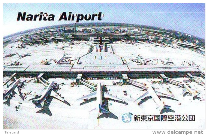 Télécarte  JAPON *  (2185) Phonecard JAPAN * AIRPORT  * Airplane * Flugzeug Avion * AVION * AIRLINES * - Airplanes